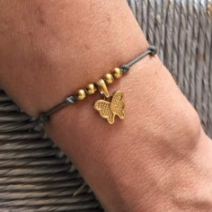 Cord bracelet gold plated butterfly medal