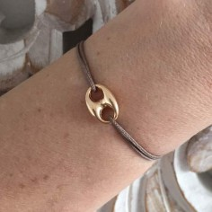 Cord bracelet gold plated small coffee bean