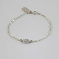Bracelet chaine argent petit Peace and Love pavage zircons