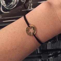 Cord bracelet gold plated open star medal