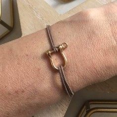Cord bracelet gold plated medium shackle