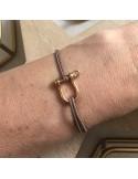 Man gold plated medium shackle cord bracelet