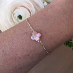 Chain bracelet silver 925 pink mother of pearl cross