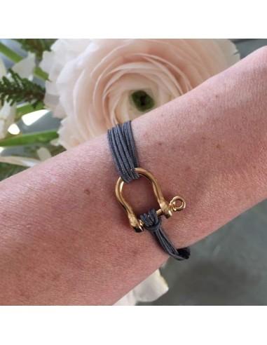 Man gold plated shackle cord bracelet