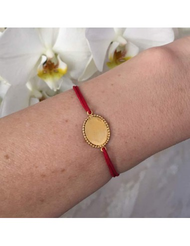 Cord bracelet gold plated baroque oval