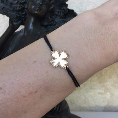 Cord bracelet gold plated baroque clover