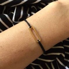 Cord bracelet gold plated small link