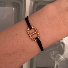 Cord bracelet gold plated beads marine link