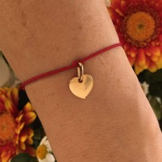 Cord bracelet gold plated small heart medal