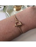 Man gold plated small toggle cord bracelet