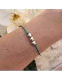 Child silver 925 three beads cord bracelet