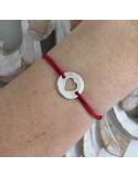 Child silver 925 open heart medal cord bracelet
