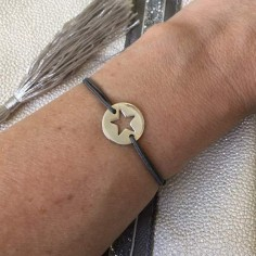Child silver 925 open star medal cord bracelet