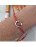Child silver 925 three small rings cord bracelet