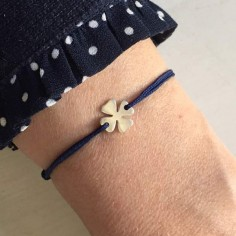 Child silver 925 small clover cord bracelet