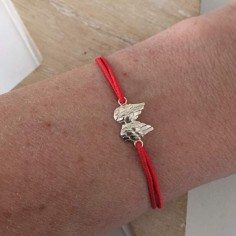 Child silver 925 small wings cord bracelet