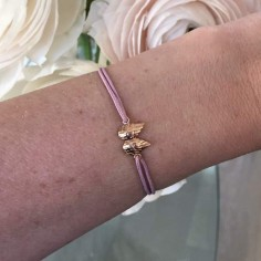 Child gold plated small wings cord bracelet