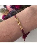 Child gold plated three coffee beans cord bracelet