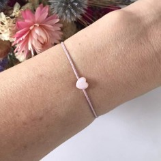 Child small pink mother of pearl heart cord bracelet