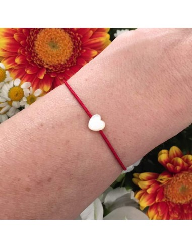 Child small white mother of pearl heart cord bracelet
