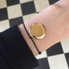 Cord bracelet gold plated medal