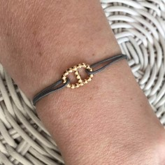 Cord bracelet gold plated small beads marine link
