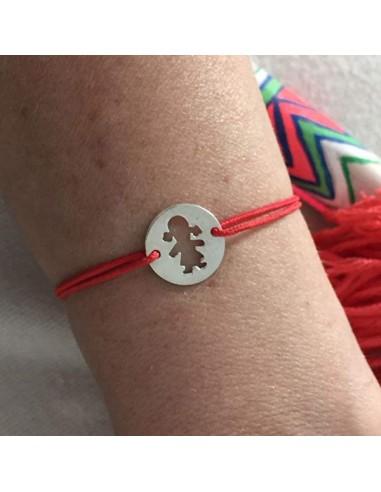 Child silver 925 open girl medal cord bracelet