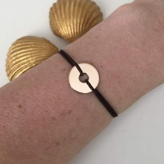 Child gold plated small target cord bracelet