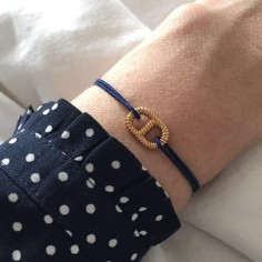 Child gold plated small striated marine link cord bracelet