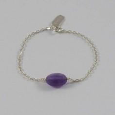Bracelet chaine argent pierre Améthyste ovale facettée