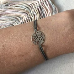 Cord bracelet silver 925 butterfly medal