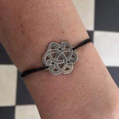 Cord bracelet silver 925 medium baroque knot