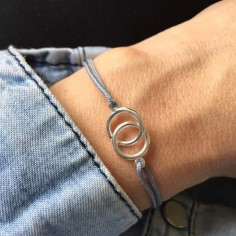 Child silver 925 two small rings cord bracelet