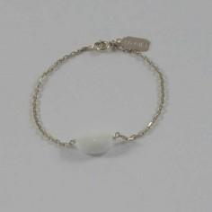 Bracelet chaine argent pierre Agate blanche ovale facettée