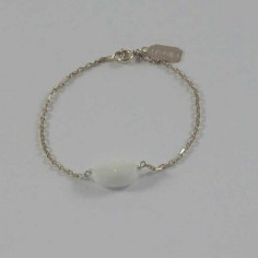 Chain bracelet silver 925 oval faceted white agate
