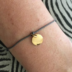 Cord bracelet small gold plated medal