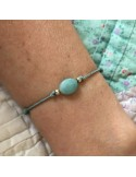 Child small oval amazonite silver beads cord bracelet