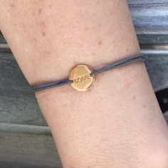 Cord bracelet gold plated small love medal
