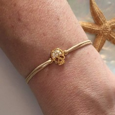 Child gold plated small flat skull zirconium cord bracelet