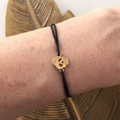 Child gold plated small flat skull cord bracelet