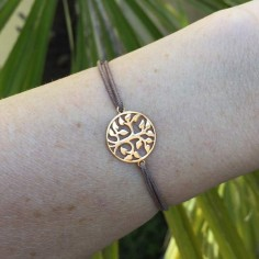 Cord bracelet gold plated tree of life