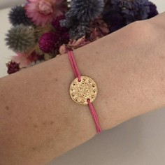 Cord bracelet gold plated small ethnic medal