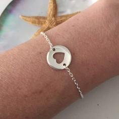 Chain bracelet silver 925 open heart medal