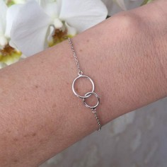 Chain bracelet silver 925 two thin rings