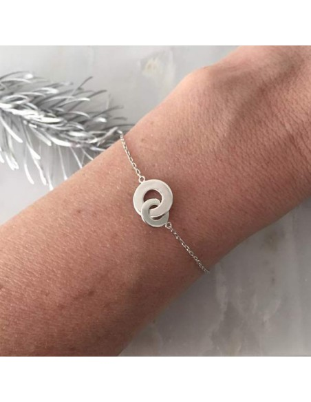 Chain bracelet silver 925 two large rings