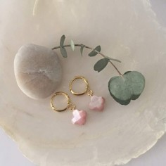 Small gold plated hoop earrings with pink mother of pearl cross