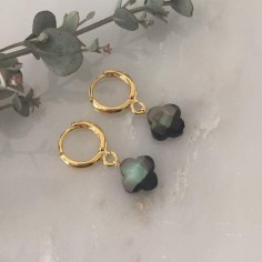 Small gold plated hoop earrings with grey mother of pearl cross