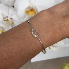 Knot thin bangle bracelet silver 925