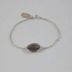 Bracelet chaine argent pierre Quartz Fumé ovale facettée