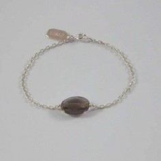 Chain bracelet silver 925 oval faceted smoky quartz